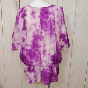 Lane Bryant Tops - Lane Bryant Top Blouse Purple White Beaded 26 28